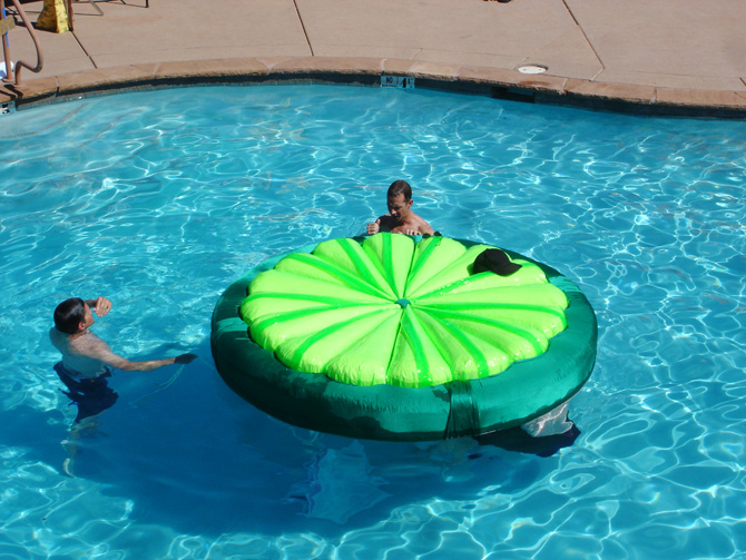"""Sharpay's (Ashley Tisdale) cocktail lime raft for """"Fabulous"""". She floated in her giant """"cocktail"""" on this lime-slice, and was surrounded by """"ice cubes"""" we fashioned from inflatable clear vinyl ottomans."""
