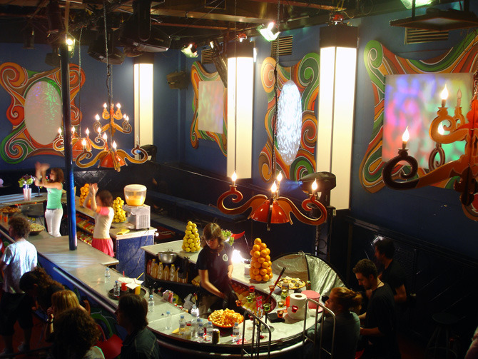 """A view of the candy colored """"juice bar"""" in the Dancing Cat teen night club."""