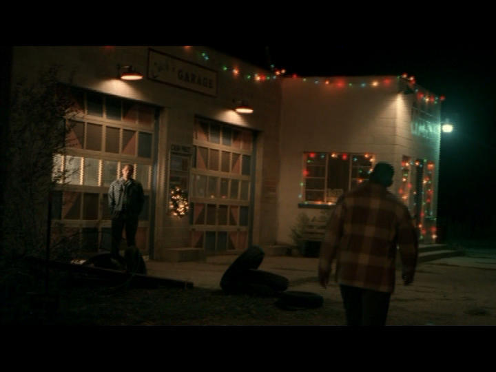 Cuch's (Wes Studi) Garage getting into the Christmas spirit.