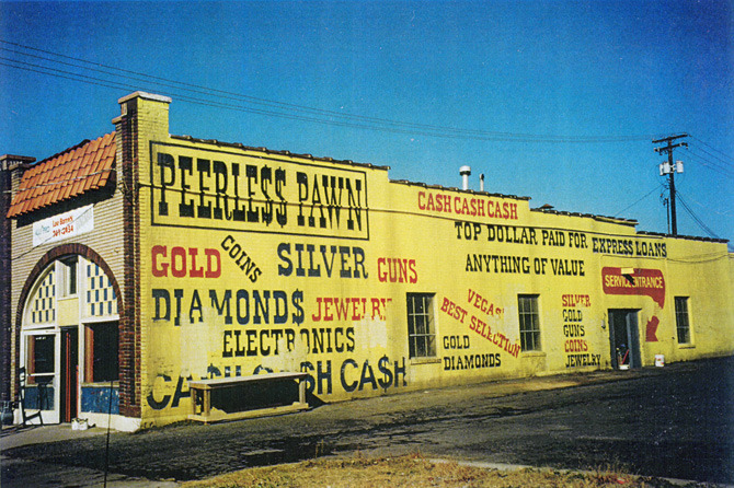 """Peerless Pawn"" interior/exterior location."