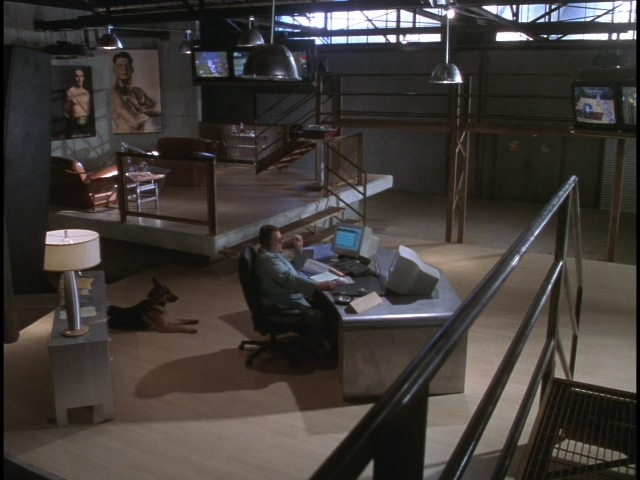 The Runner is a drama about hard luck gamblers who run cash to sports books for the ruthless super-gambler Deepthroat (John Goodman). This is Deepthroat's villanous lair/command center we built in an old auto parts warehouse.