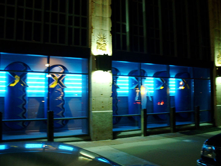 "Permanent window display for XMission Internet ""Data Center"" Salt Lake City, Utah."