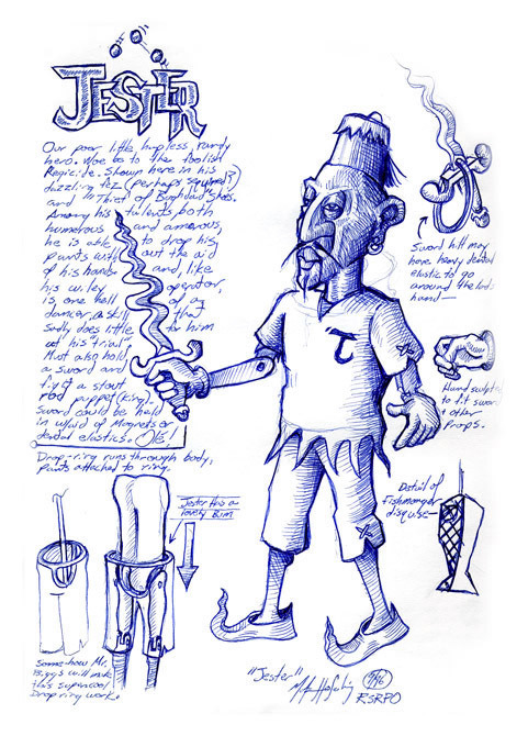 """""""Jester"""" character sketch from an unproduced puppet opera."""