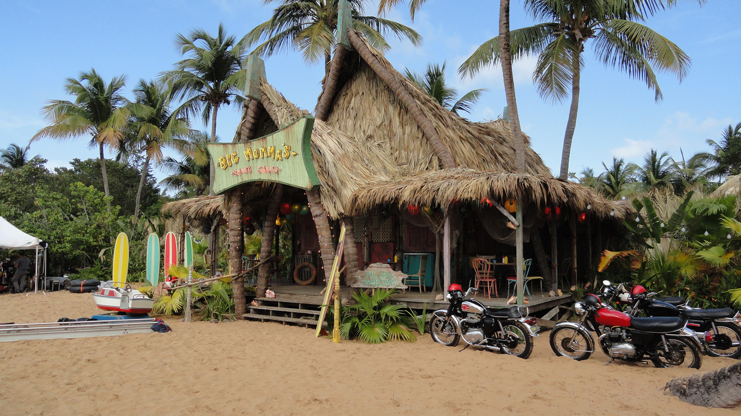 Rival gangs of surfers and bikers compete for control of Big Momma's snack shack. We built this Polynesian inspired beach hut on a gorgeous cove in eastern Puerto Rico.