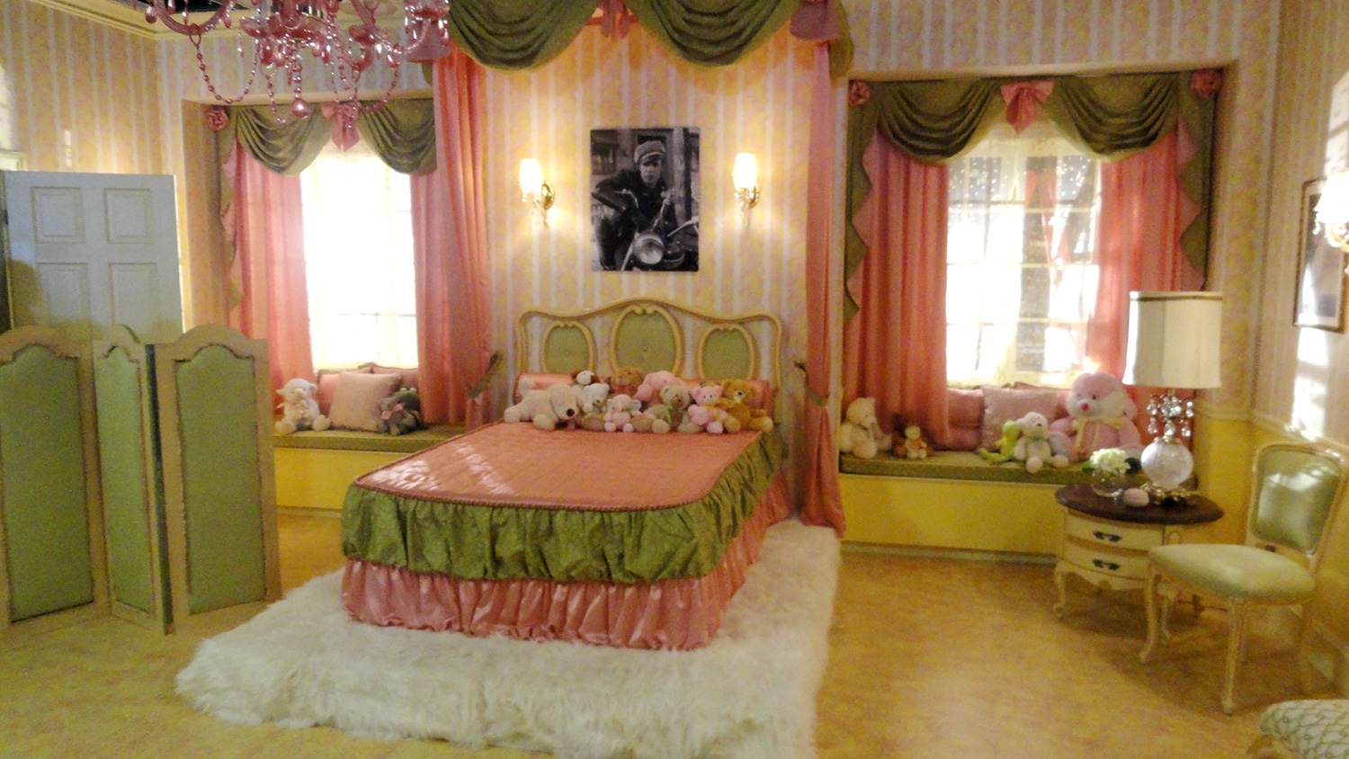 """Biker girl Lela's (Grace Phipps) over the top, early 1960's bedroom. This was the setting of one half of the musical number """"Like Me""""."""