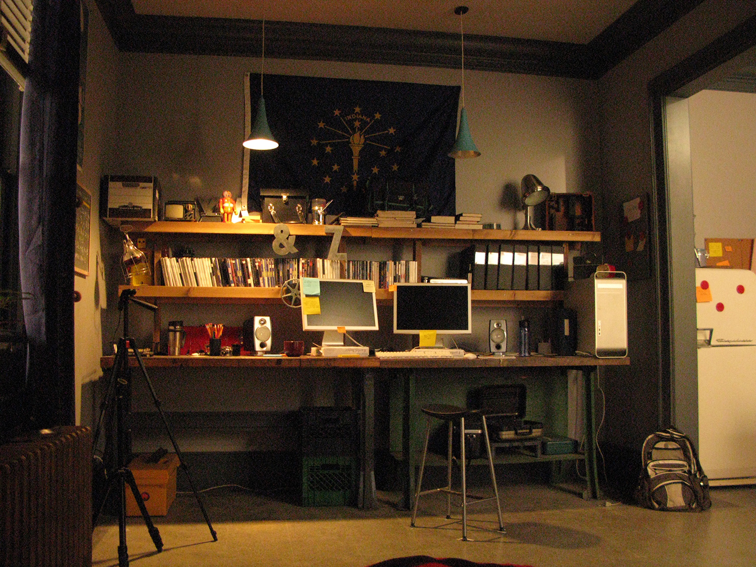A view of Peyton's (Austin Butler) studio apartment stage set. Here is his editing workbench.