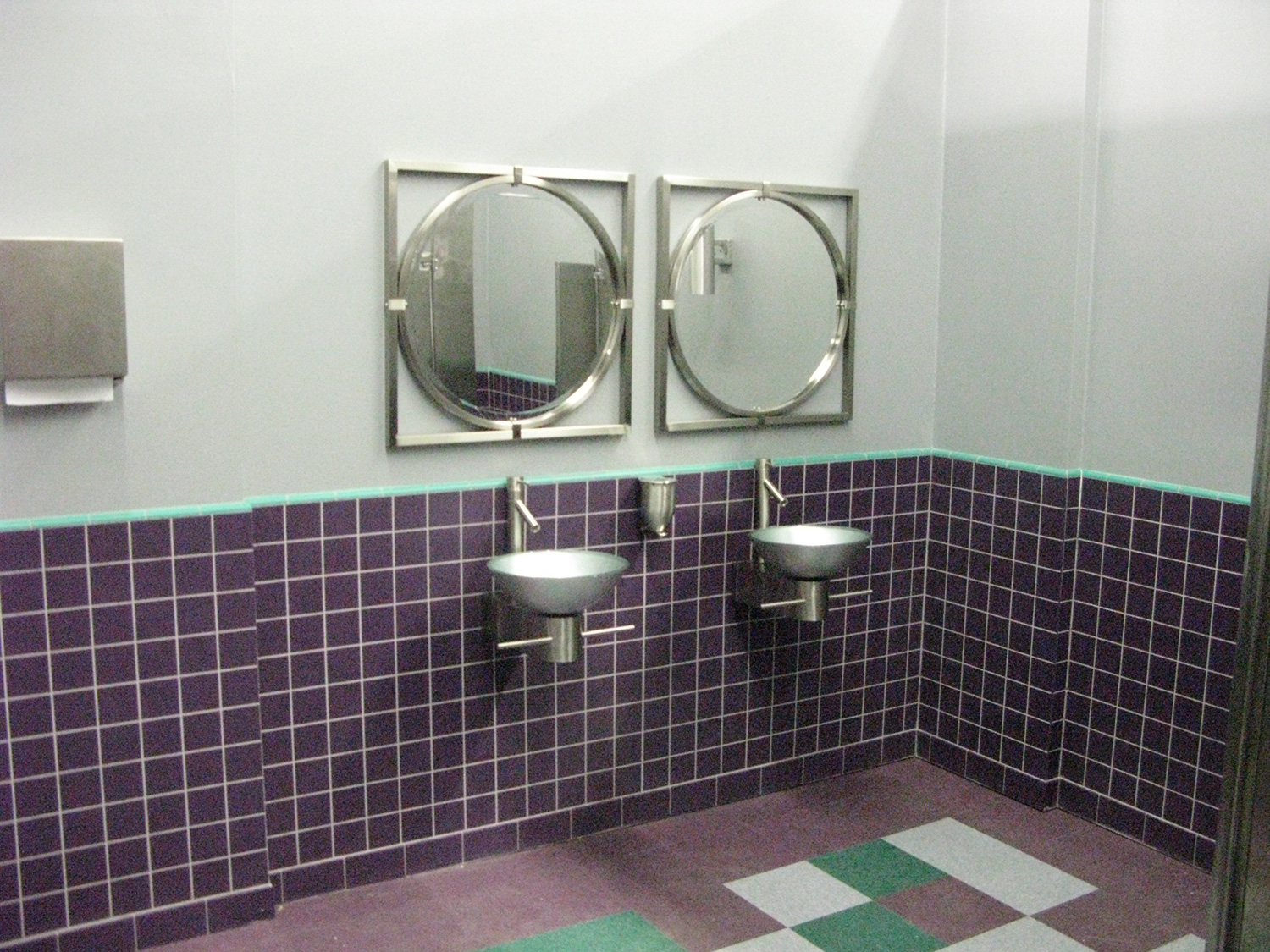 Women's bathroom in teenage nightclub stage set.