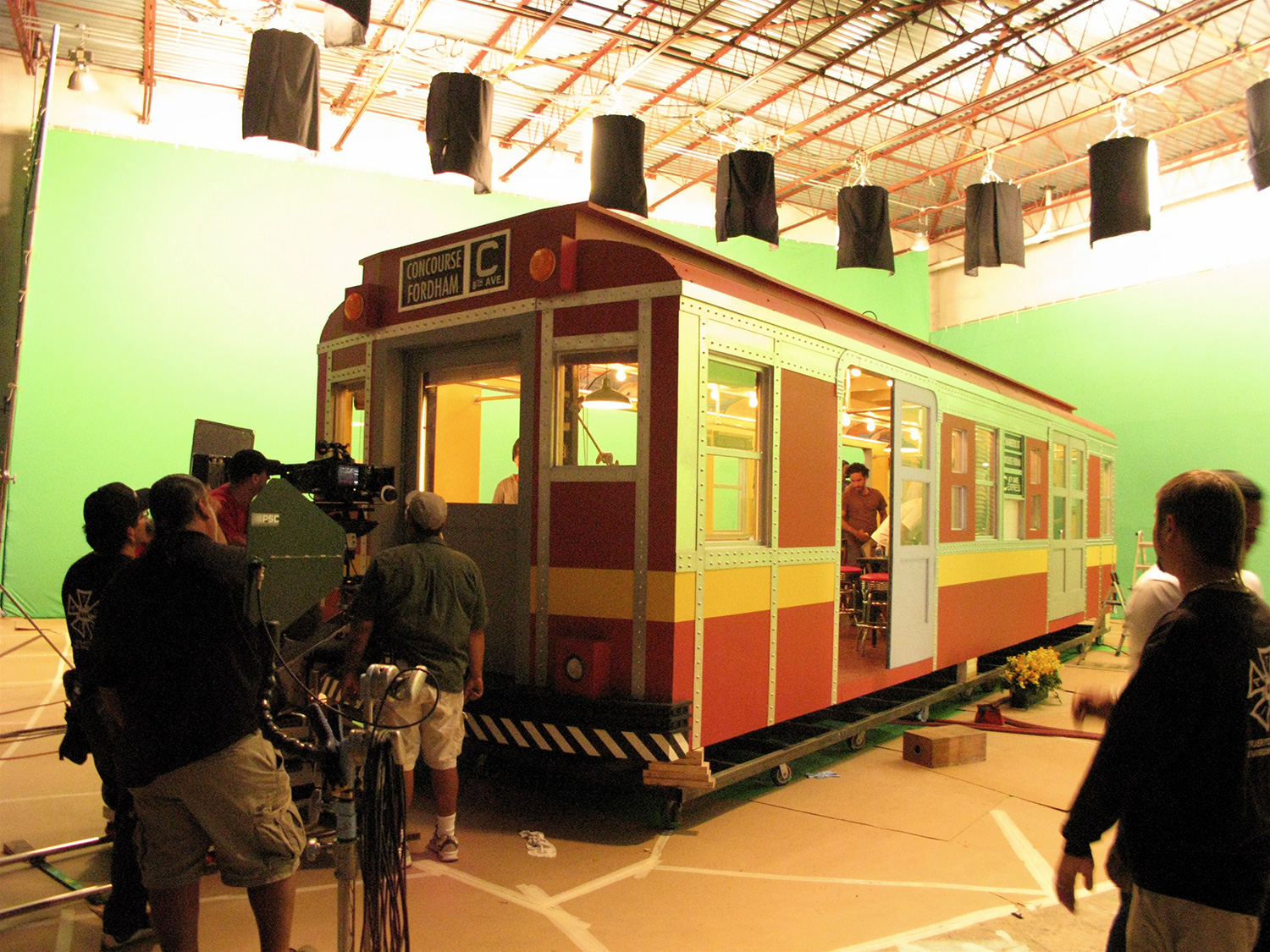 Here is the detached subway-dining car being shot in it's runaway train sequence.