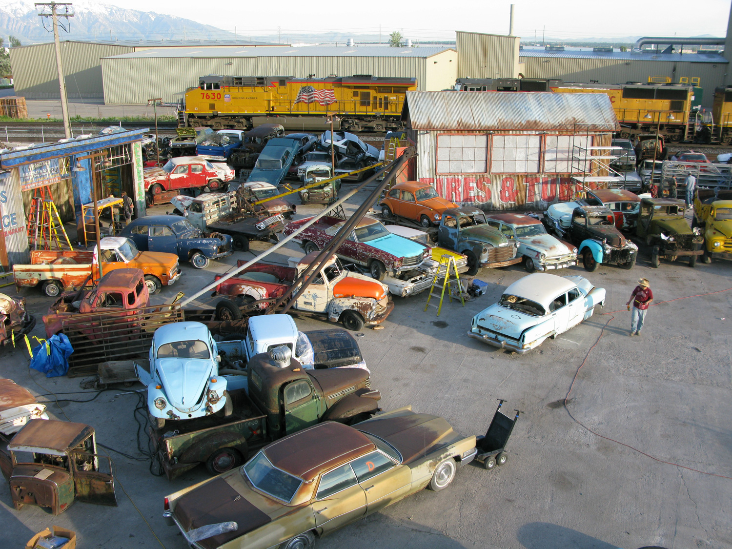 "Junkyard set for ""The Boy's are Back"". Shacks were built and classic junked cars arranged in sort of an amphitheater for choreography."