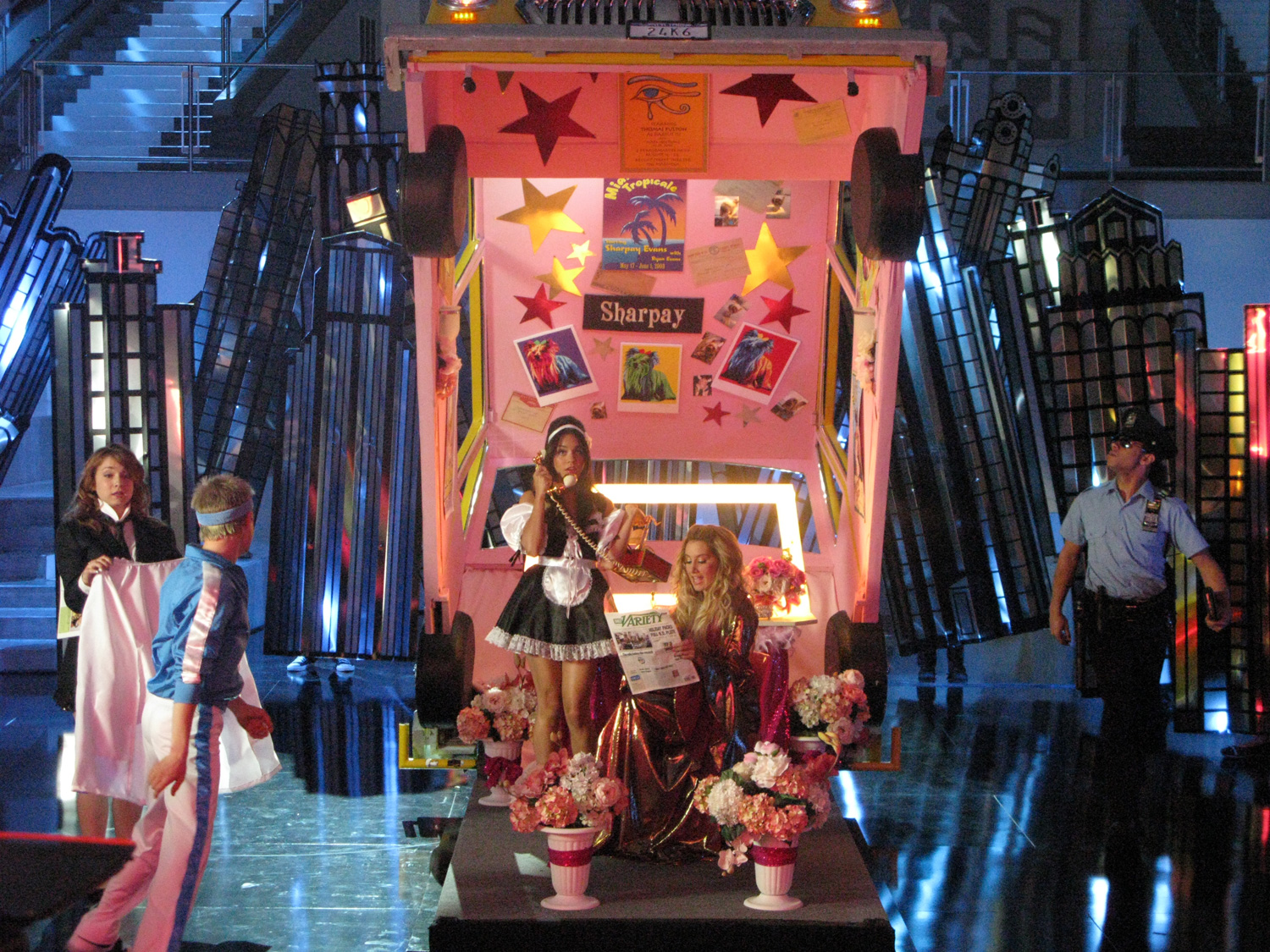 Soon the cab opens up, revealing it's not a cab at all, but Sharpay's (Ashley Tisdale) dressing room.