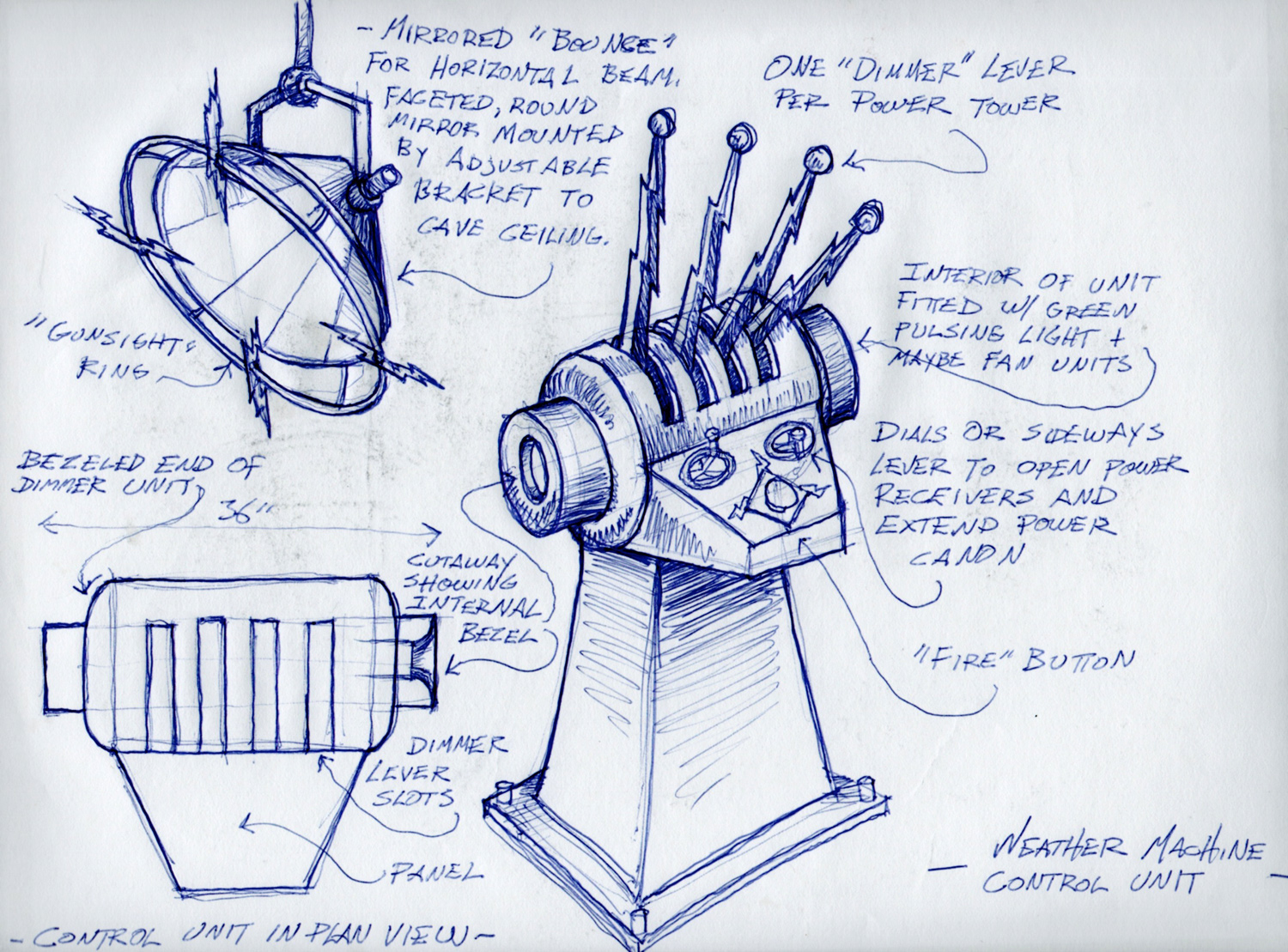 A sketch of the weather machine's control unit and proposed light for Teen Beach Movie.