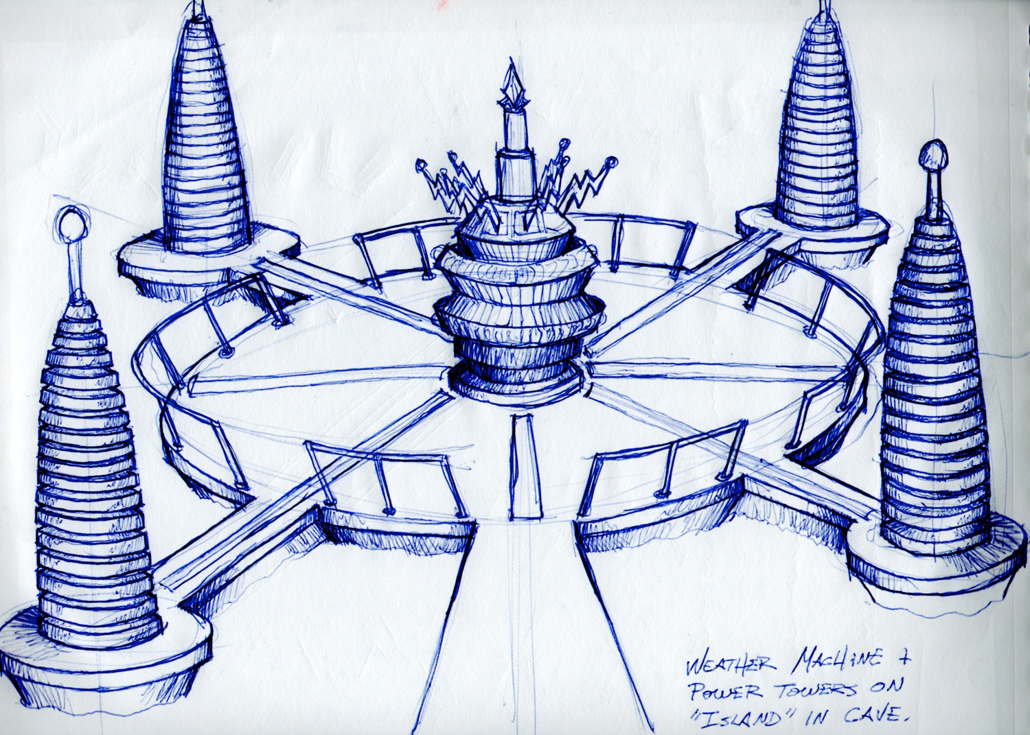 My initial sketch of the dastardly weather control machine for Teen Beach Movie.