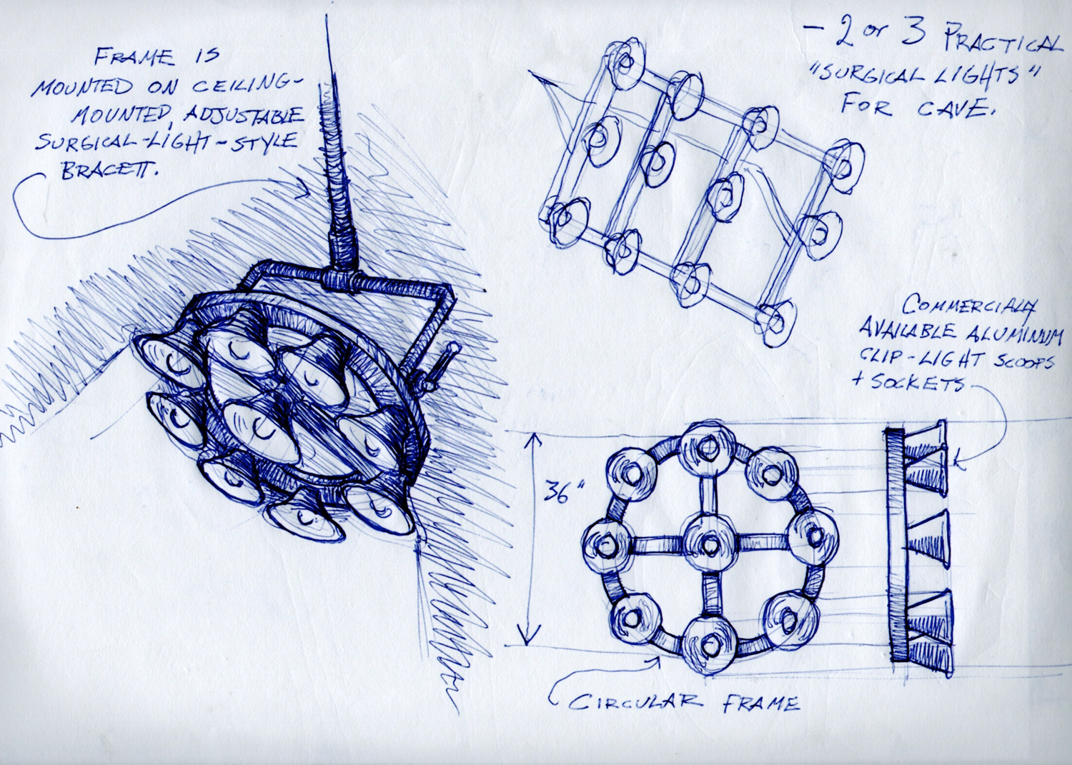 A sketch of the final practical light fixtures for the weather control machine in Teen Beach Movie.