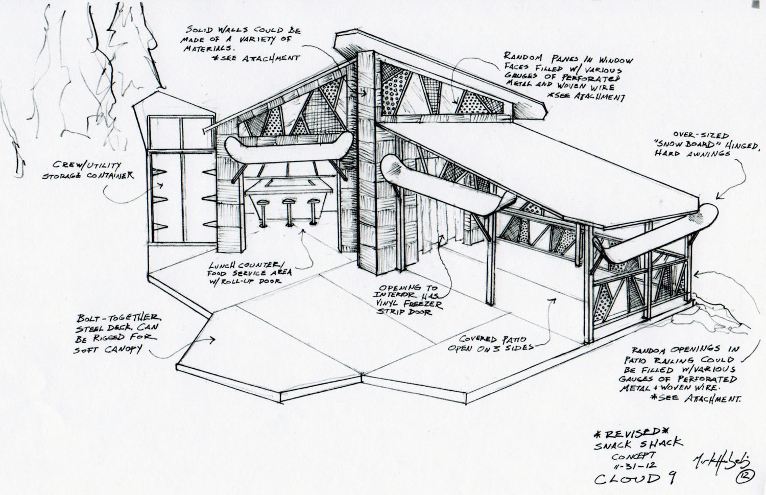 Sketch of the snow boarder's Snack Shack for Cloud 9.