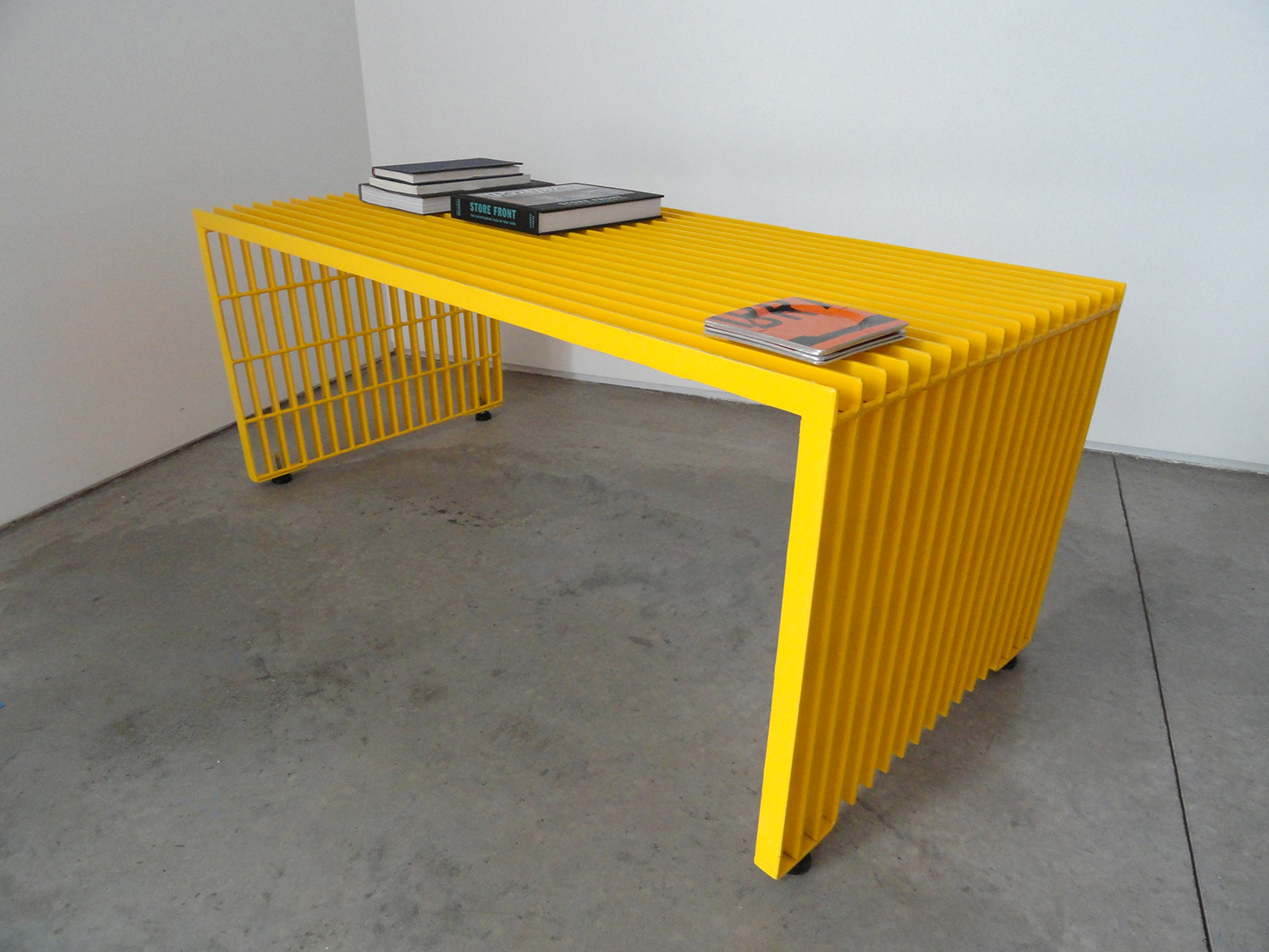 Coffee table, built from salvaged steel bar-grate.