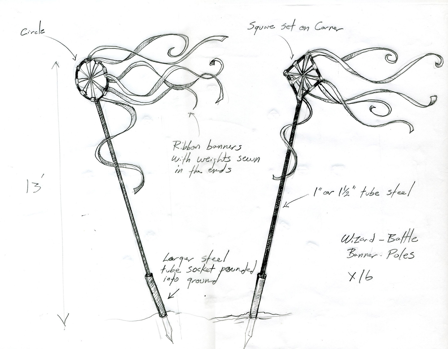 """Here is a working drawing for a ring of mystical ribbon-banners that surrounded the concentric stone circles for the """"Wizard Battle"""" scene from """"The Wizards of Waverly Place: The Movie""""(2009)."""