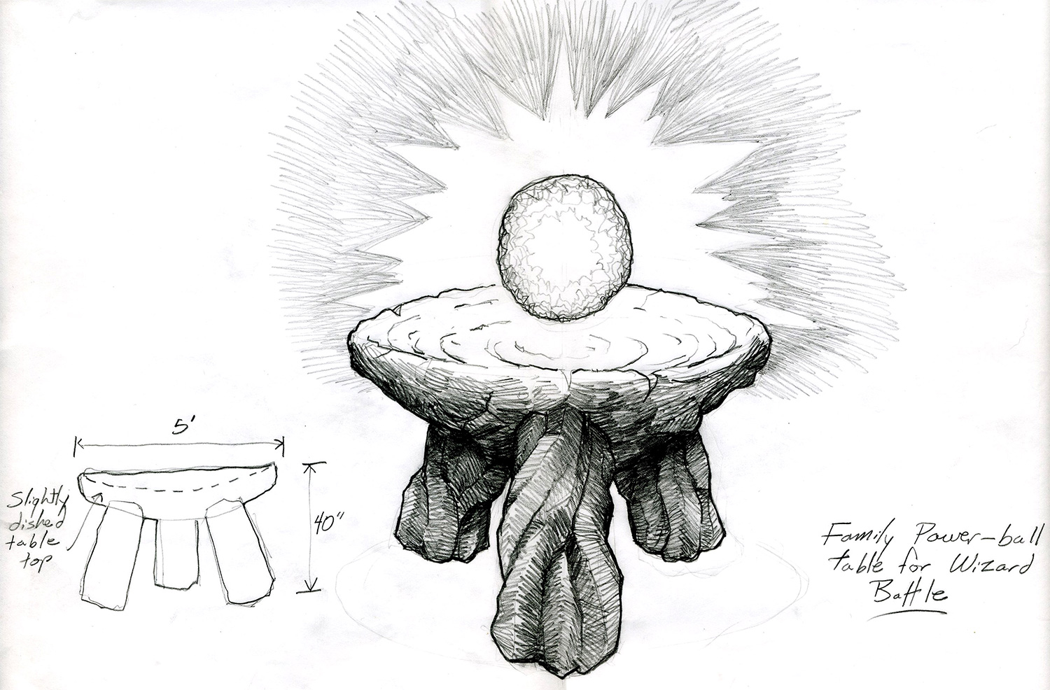 """This is a working drawing for the stone table in the center of the concentric obelisks that holds the sought after, magical object in the """"Wizard Battle"""" scene from """"The Wizards of Waverly Place: The Movie"""" (2009)."""