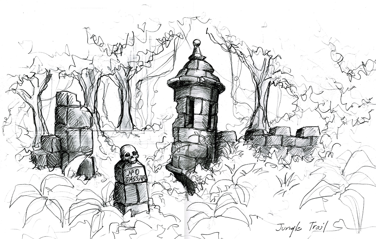 """A conceptual drawing for a ruined """"Garita"""" that guard's the beginning of a magical path through the jungle in """"The Wizards of Waverly Place: The Movie"""" (2009)."""