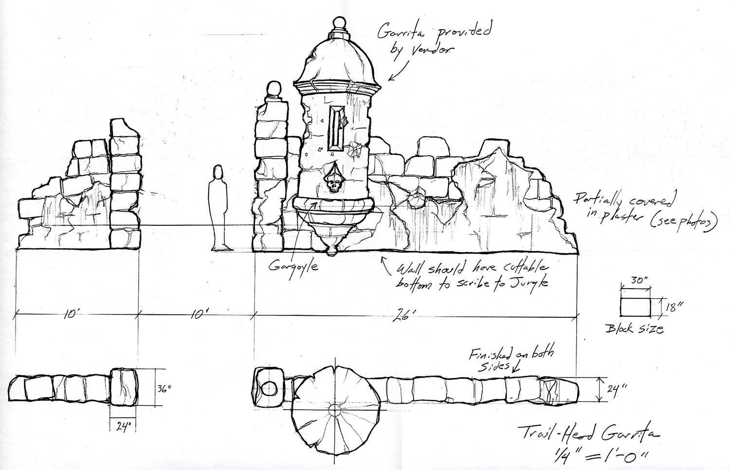 """A working drawing based on the conceptual drawing of the ruined """"Garita"""" from """"The Wizards of Waverly Place: The Movie"""" (2009)."""
