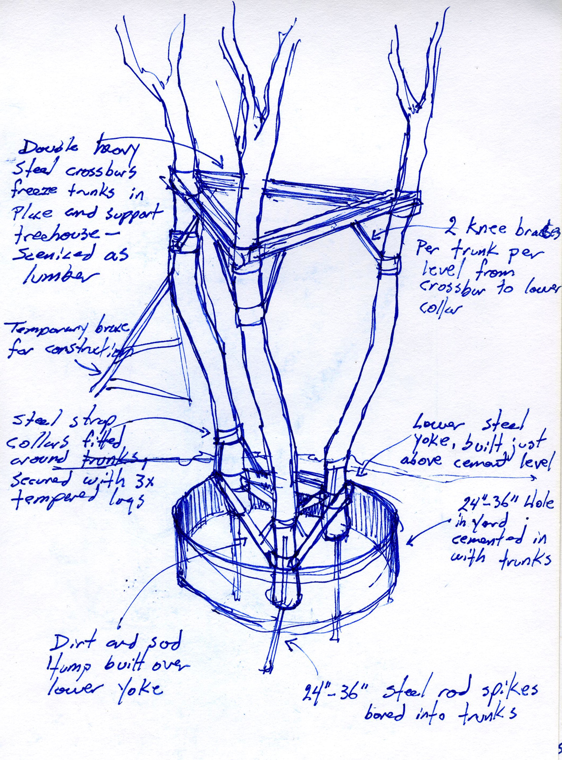 """The very first notebook sketch for Troy's treehouse from """"High School Musical 3"""" (2008). The set required the sinking of three 50' tree trunks 6' into the ground in a suburban backyard."""