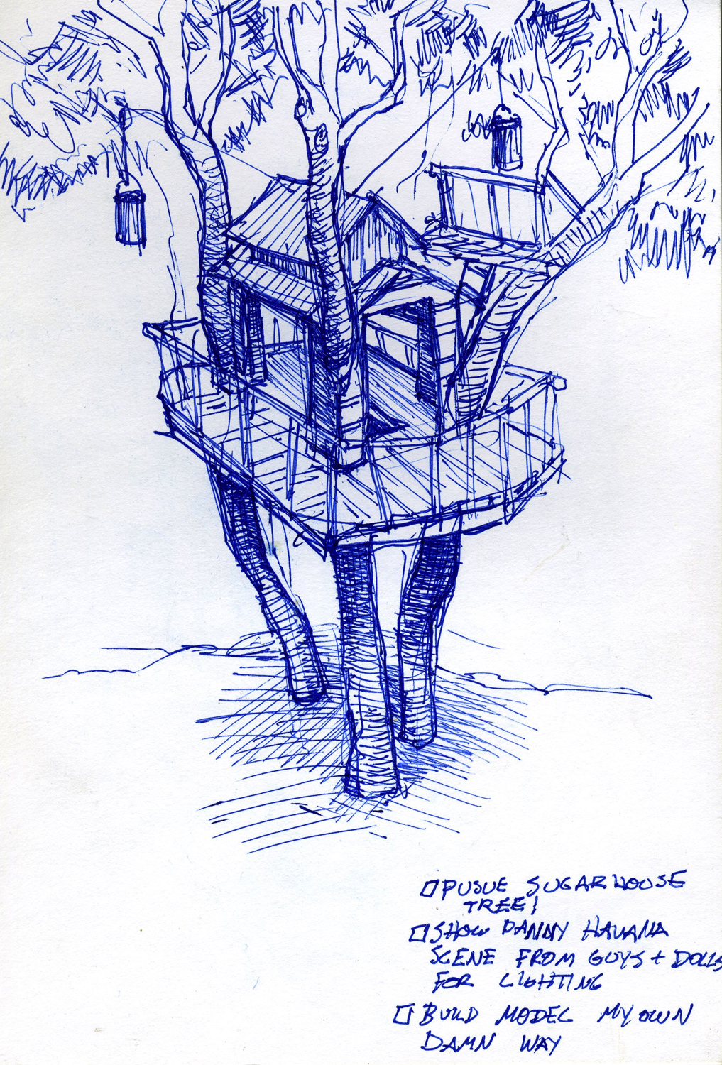 """The first notebook illustration of the final look of Troy's treehouse from """"High School Musical 3"""" (2008)."""