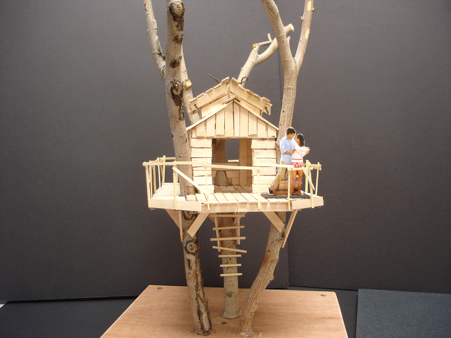 """A simple model I built to help construction determine the pitch and spread of the three imported tree trunks and how they would intersect with the treehouse from """"High School Musical 3"""" (2008)."""