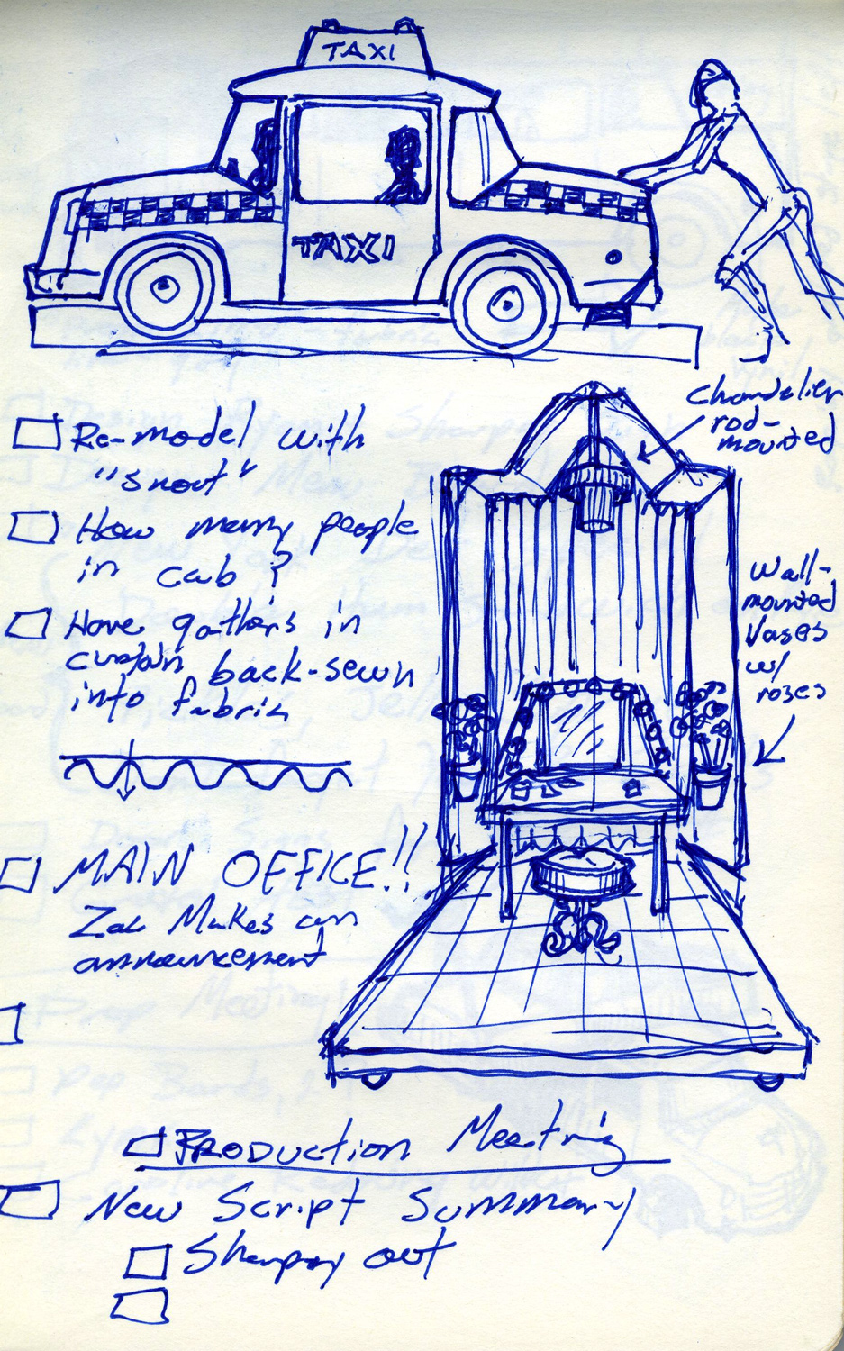"""The very first notebook sketch for the """"Taxi/dressing room"""" element for the """"I Want it All"""" musical number in """"High School Musical 3"""" (2008). The idea was that Sharpay (Ashley Tisdale) and Ryan (Lucas Grabeel) would cruise through a stylized Manhattan toward camera in their taxi, which then would open up to reveal Sharpay's fantasy Broadway dressing room."""