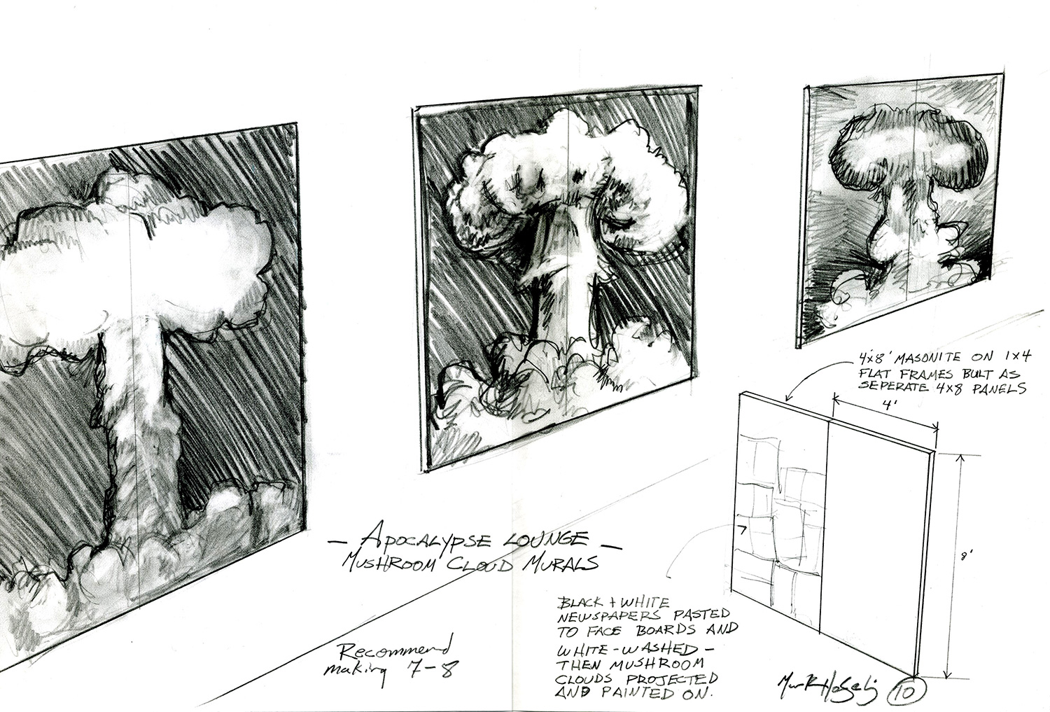 Conceptual sketch for a yet-to-be-realized, end of the world themed event.
