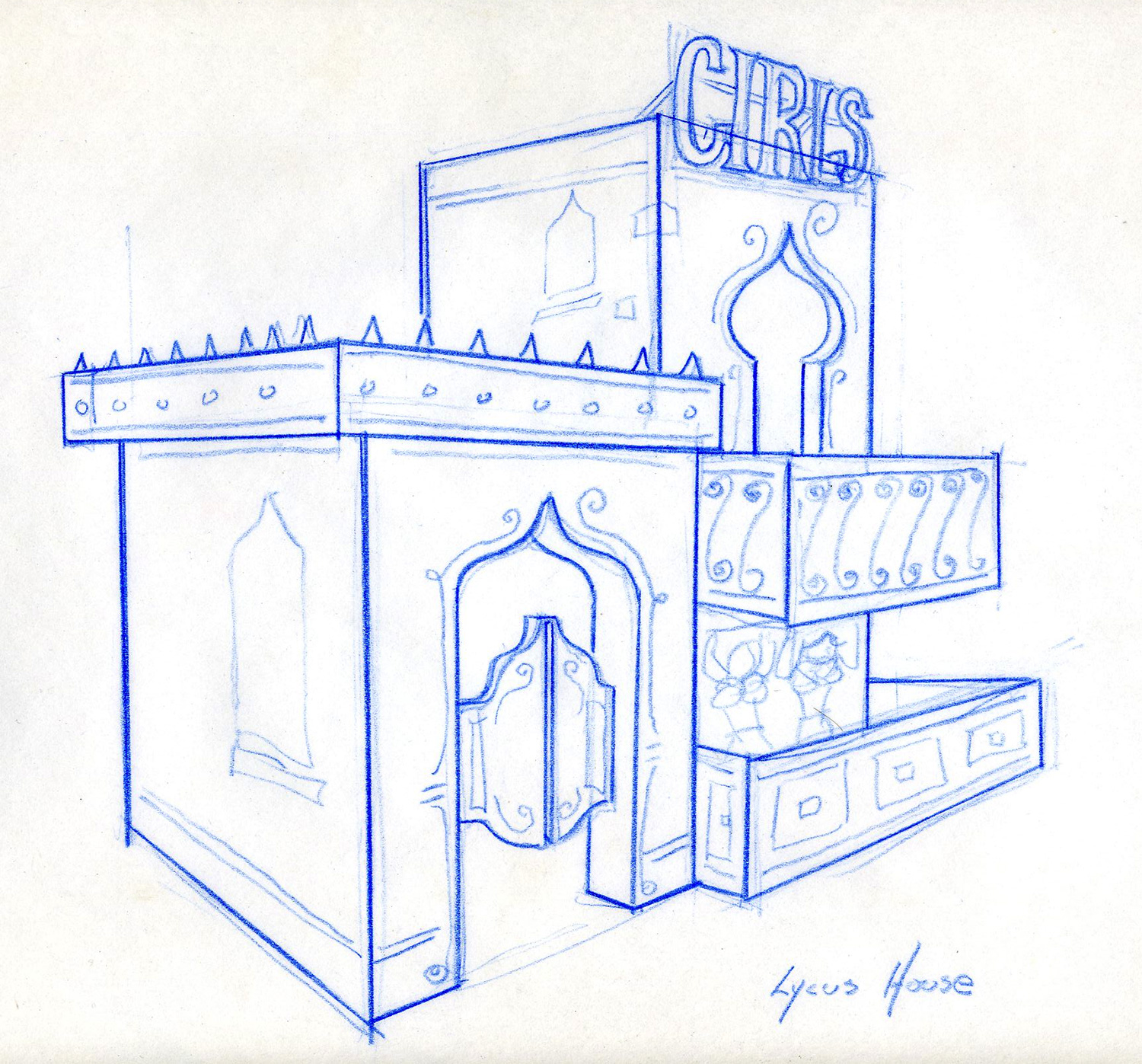 """Preliminary sketch for Lycus' House for a thetarical production of """"A Funny Thing Happened on the way to the Forum""""."""