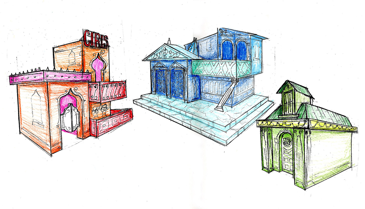 """Final color sketch for the Roman street scene in """"A Funny Thing Happened on the way to the Forum""""."""