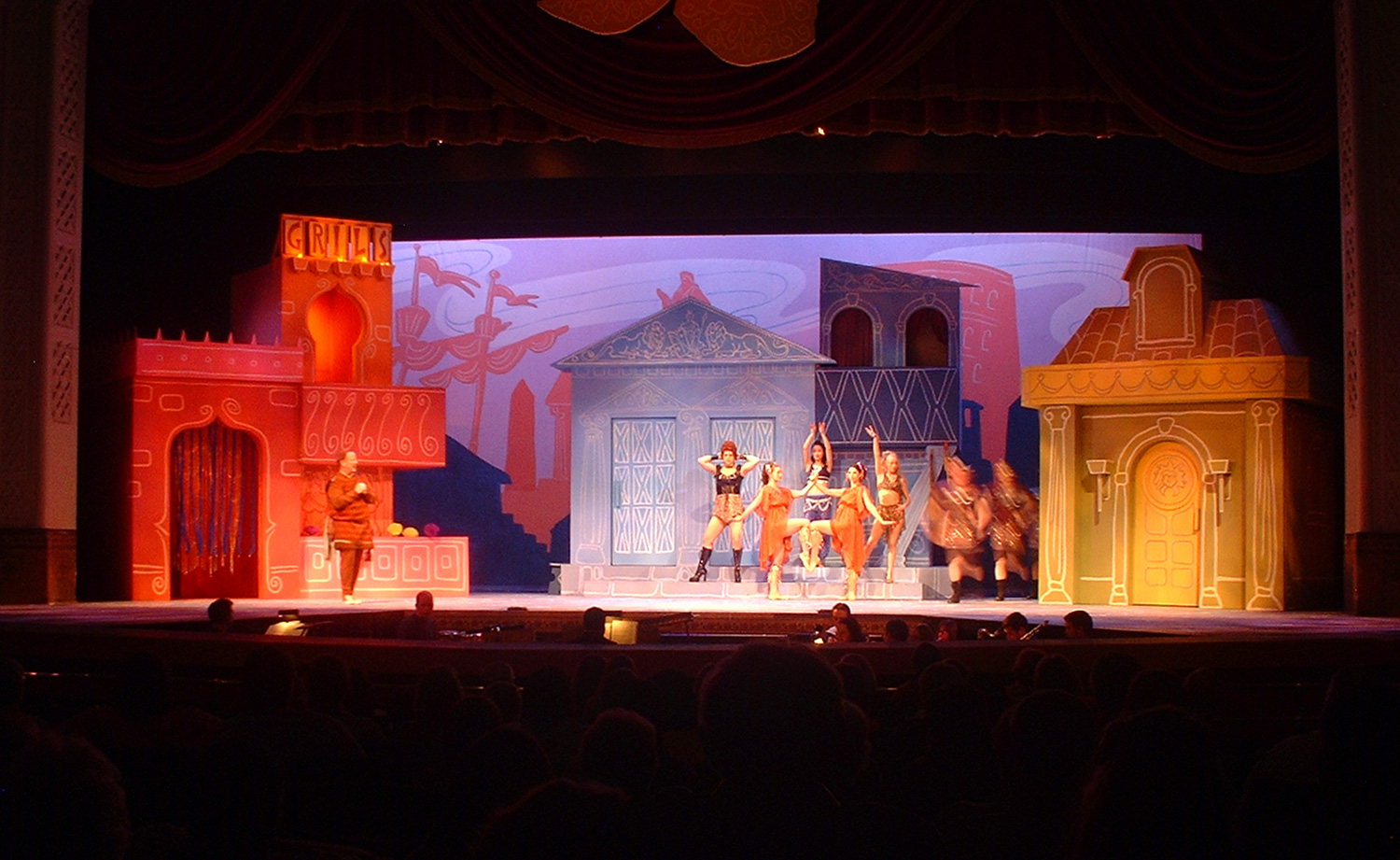 """A shot of the finished set for """"A Funny Thing Happened on the way to the Forum""""."""