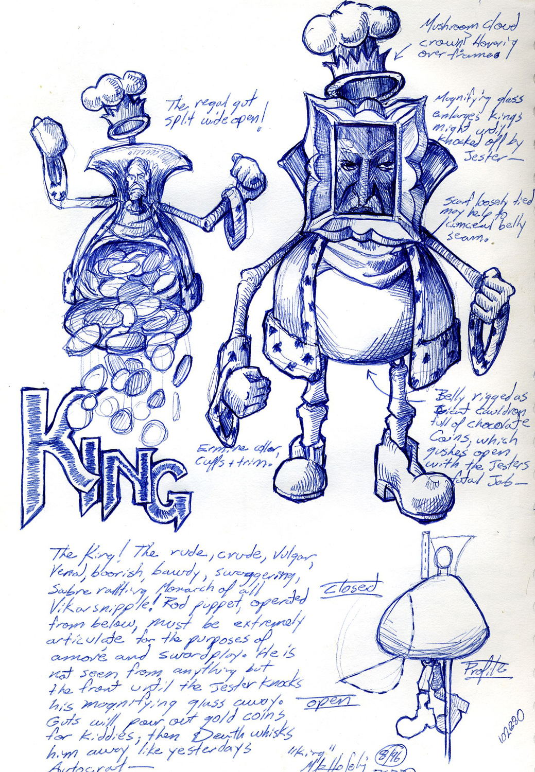 """""""King"""" character sketch from an unproduced puppet opera."""
