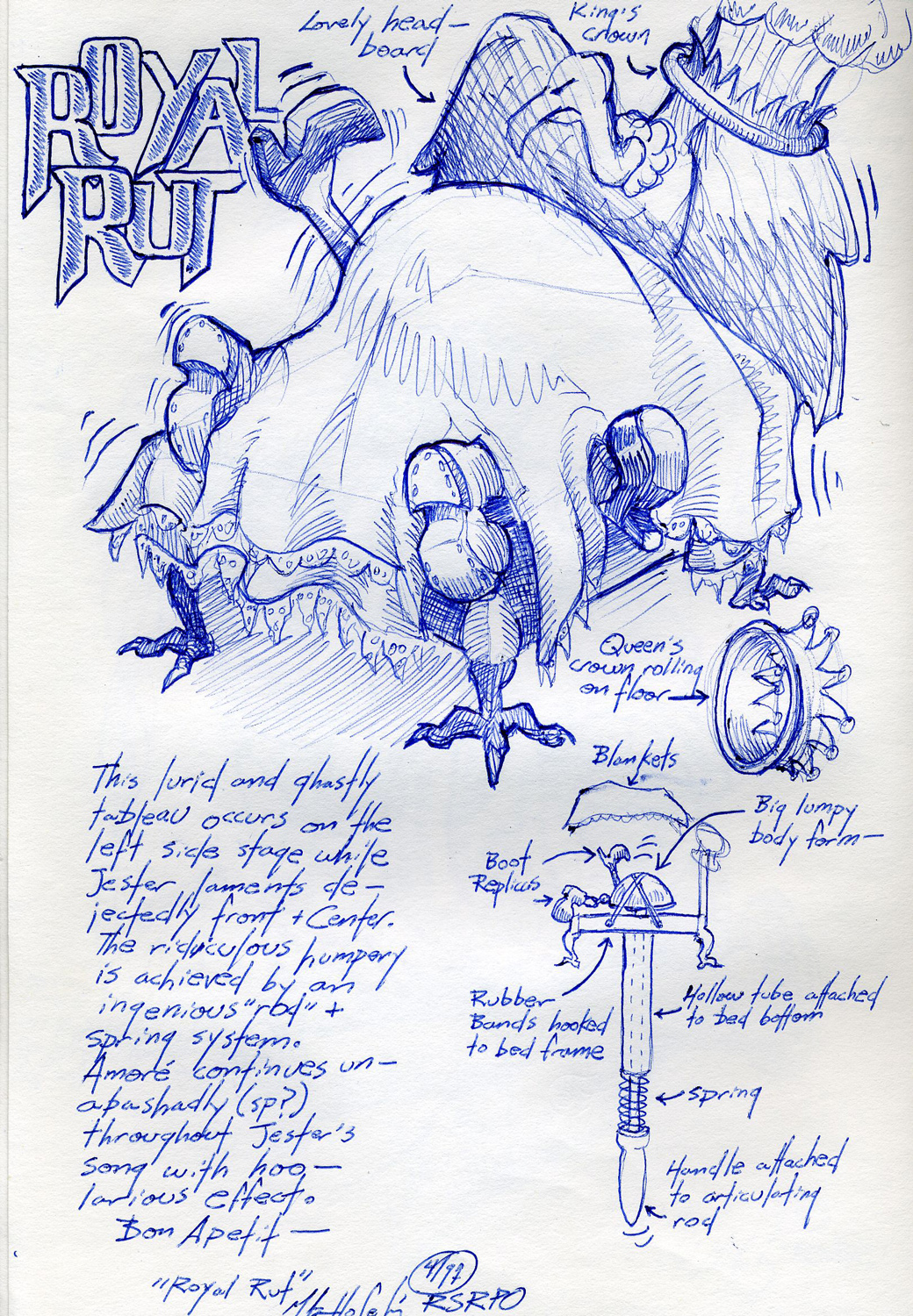 """""""Royal Rut"""" prop sketch from an unproduced puppet opera."""