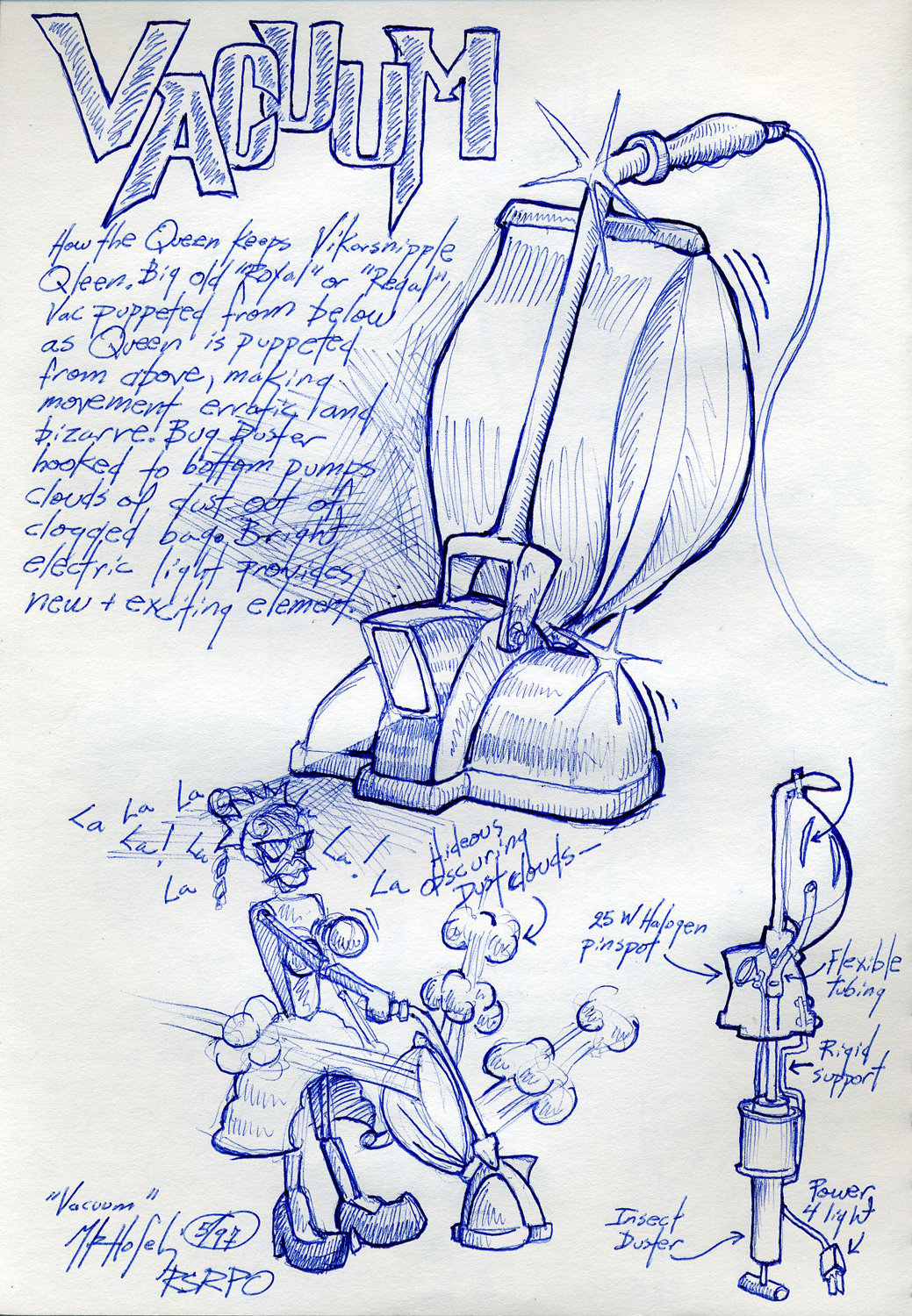 """""""Vacuum"""" prop sketch from an unproduced puppet opera."""
