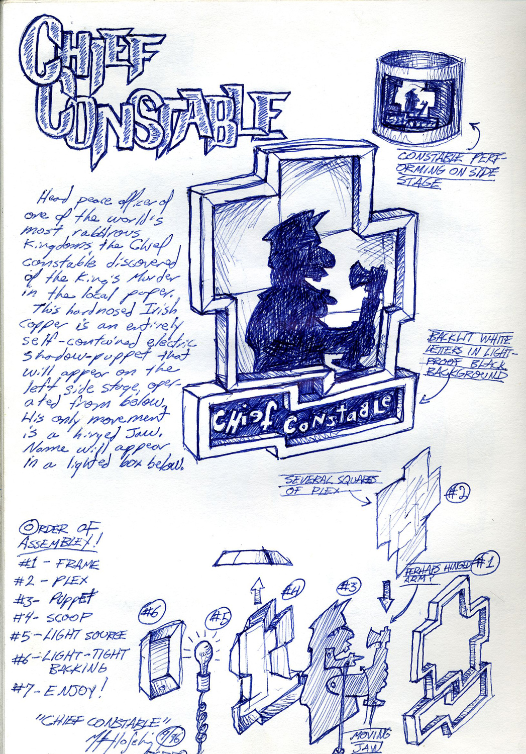 """""""Chief Constable"""" character sketch from an unproduced puppet opera."""