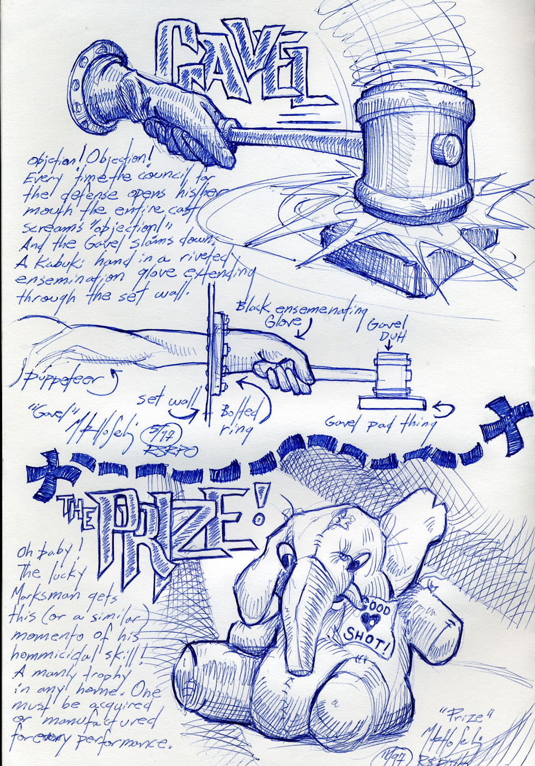 """""""Gavel/Prize"""" prop sketch from an unproduced puppet opera."""