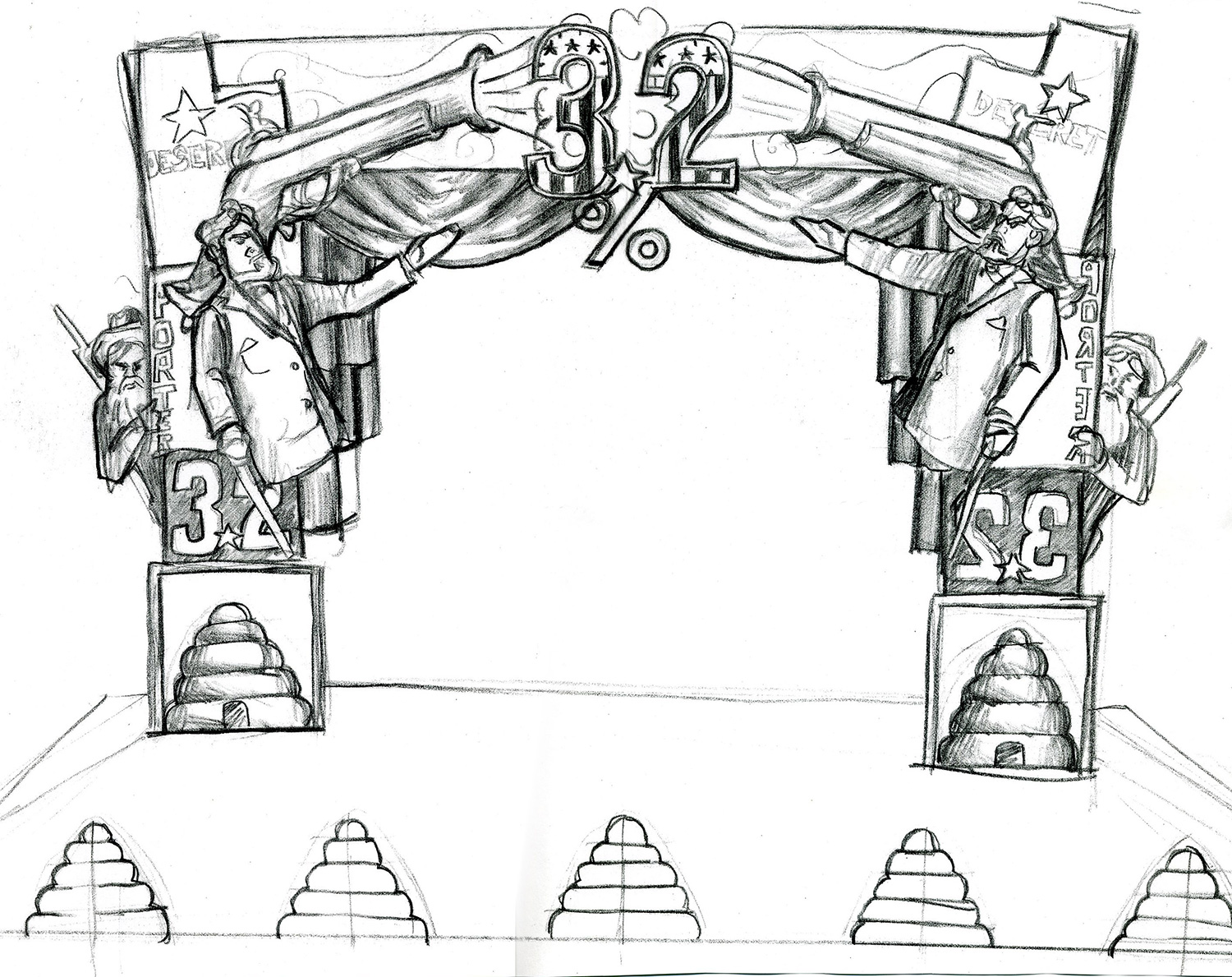 A conceptual drawing for a stage proscenium for a live music television show.