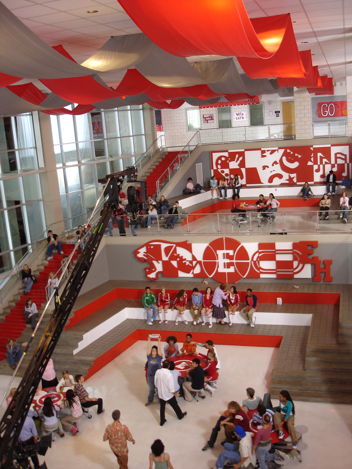 "Overhead view of the East High School cafeteria dressed for the ""Status Quo"" dance number."