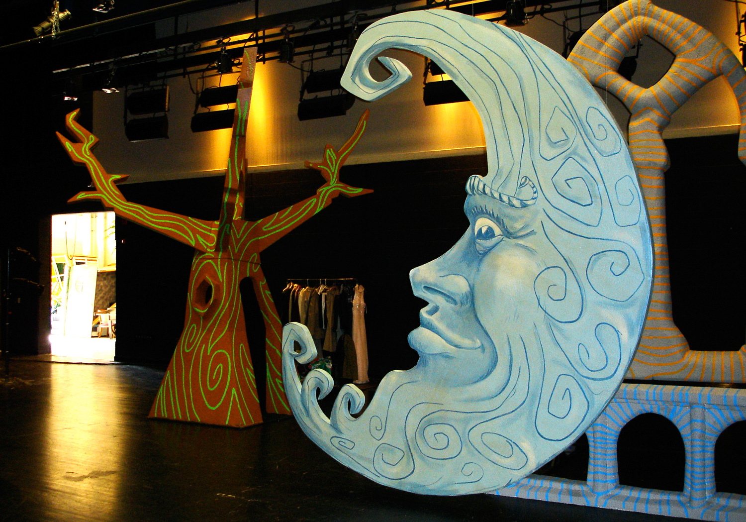 "Set pieces for the ""Twinkle Town"" musical the cast was preparing for."