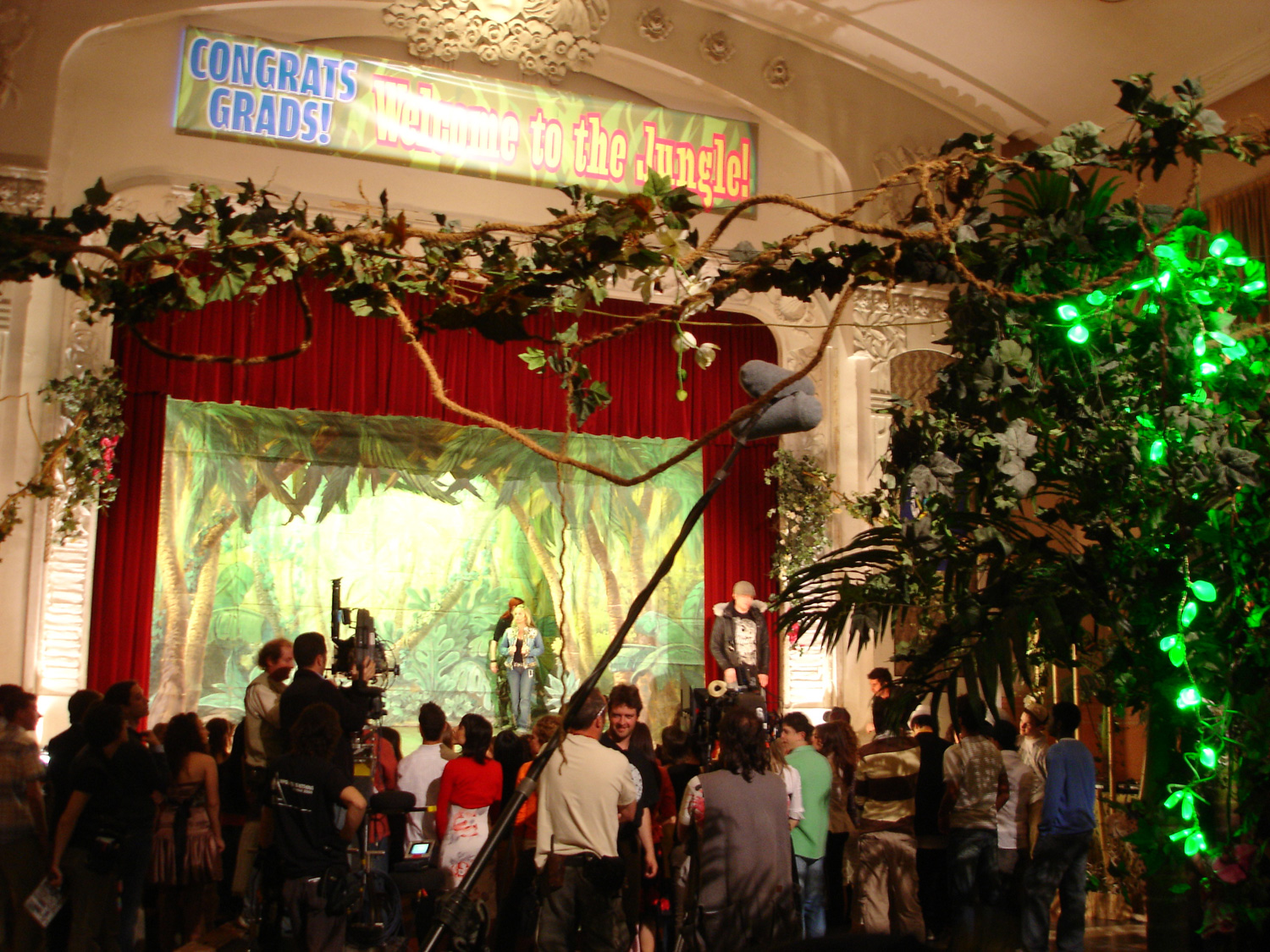 """""""Welcome to the Jungle""""-themed high school graduation party. This was a particularly challenging scene because it was supposed to be an American public high school gymnasium, but we had to create that feeling in Barcelona."""