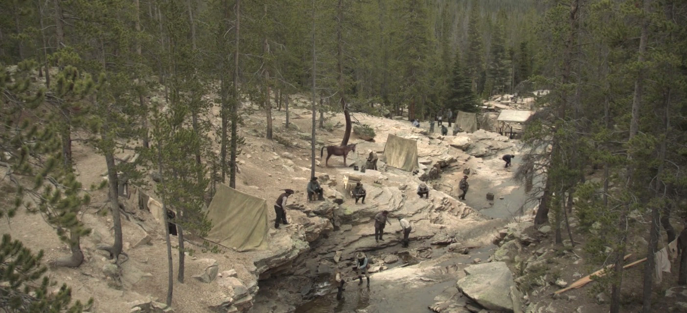 I art directed the mini series Gold Fever for production designer Ernesto Solo. It centered around the agony and the ecstasy of the California Gold Rush of 1849. This is a shot of the grim camp along the American River.