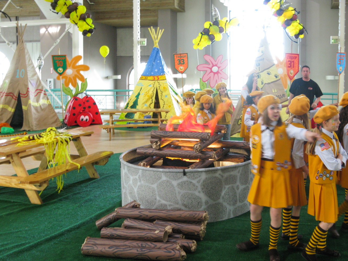 "A detail shot of the indoor ""campfire"" of the Bumble Bee scouts Camporee."