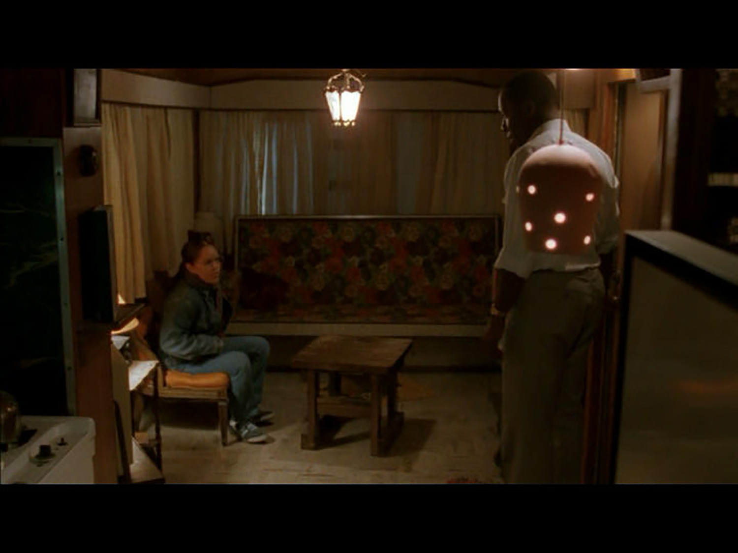 """The """"living room"""" in Mr. William's (James McDaniel) trailer interior stage set."""