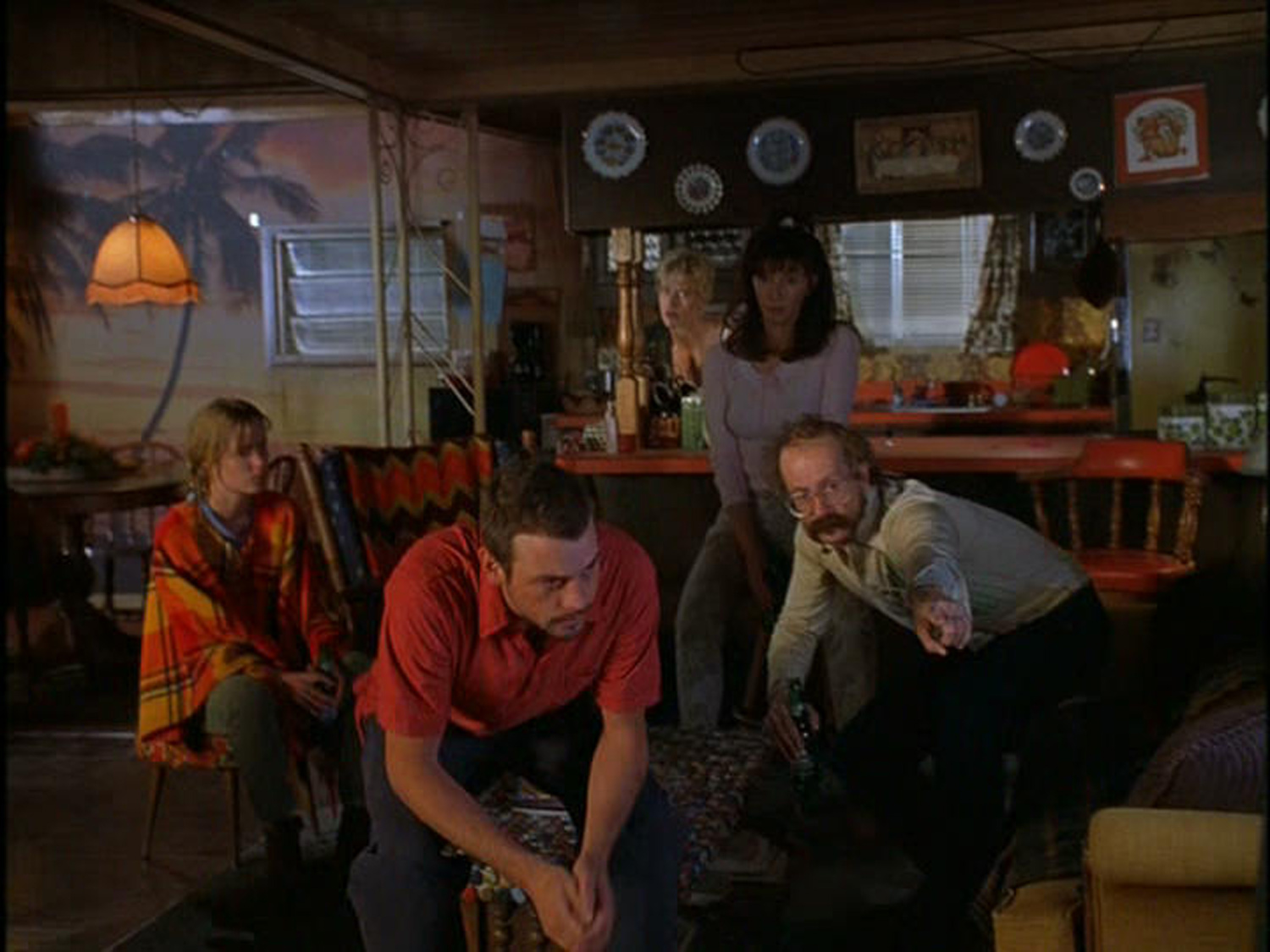 A view of the cast (Skeet Ulrich, Gary Oldman, Mary Steenburgen, Anna Gunn & Radha Mitchell) in Sonny's trailer interior stage set.