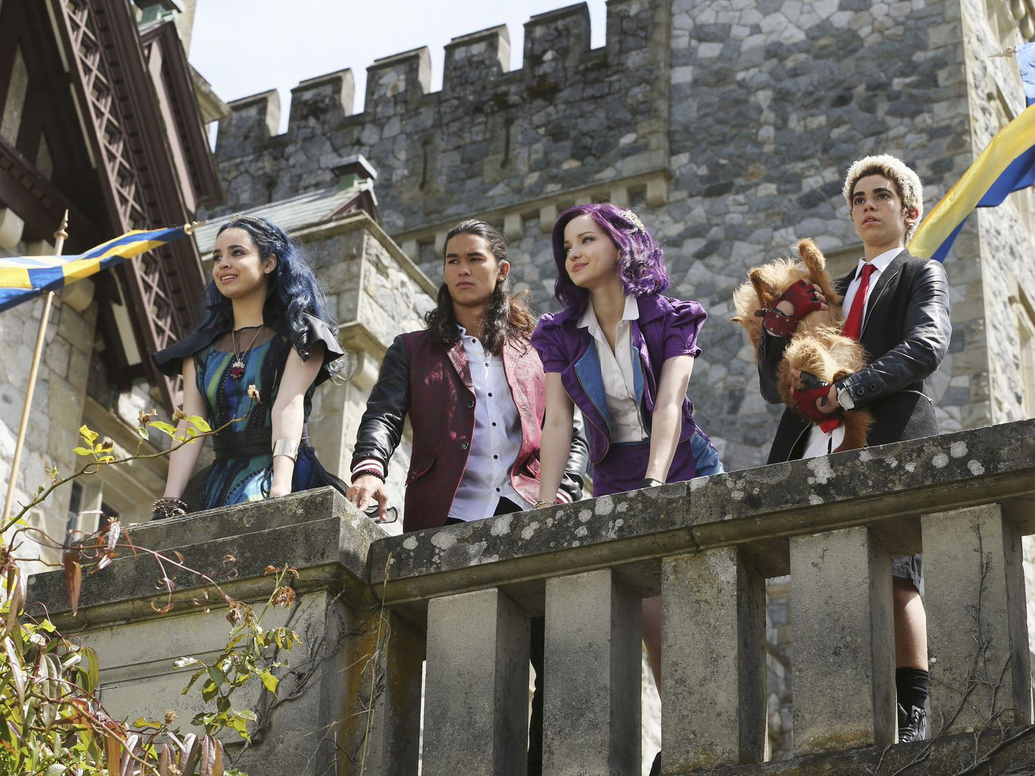 Having been transplanted from their prison on the Isle of the Lost to the gorgeous mainland of Auradon, the Villain Kids struggle to fit in. From left to right: Evie (Sofia Carson), Jay (Booboo Stewart), Mal (Dove Cameron) and Carlos (Cameron Boyce).  (Disney Publicity photo)