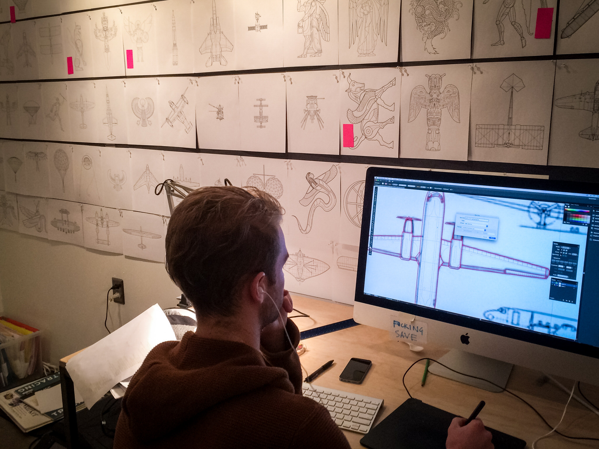 Frequent CSB collaborator and illustrator Christian England works on one of the almost 200 original illustrations for the Tunnel of Dreams entry portal.