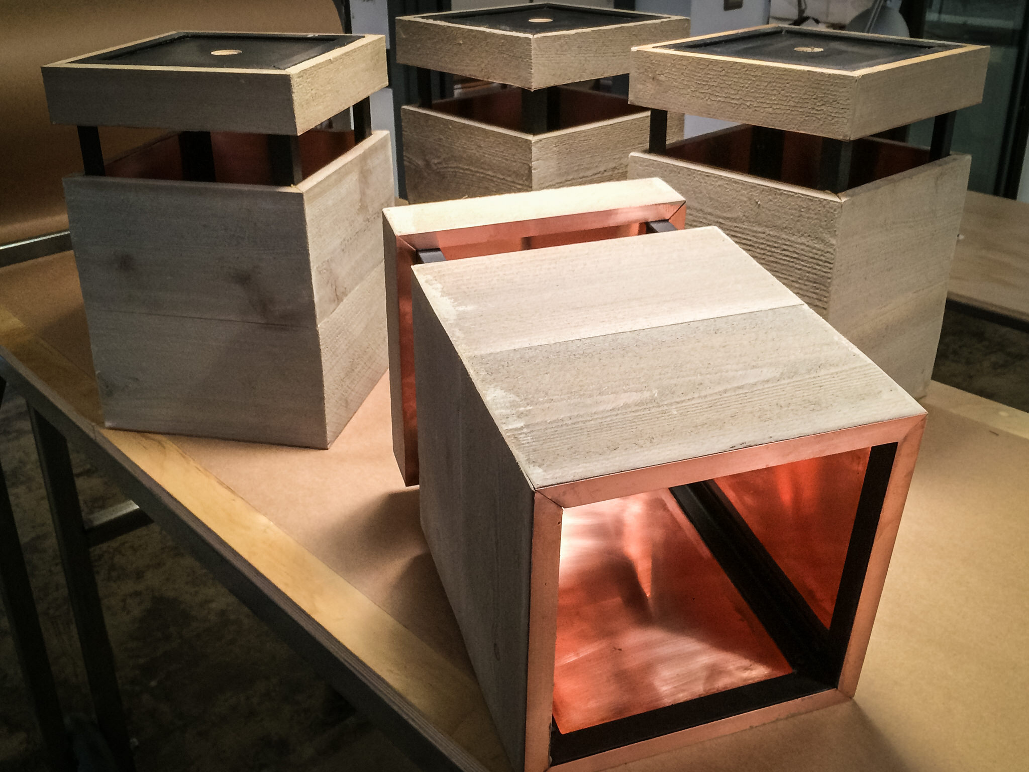 Our custom light fixtures with copper lining.
