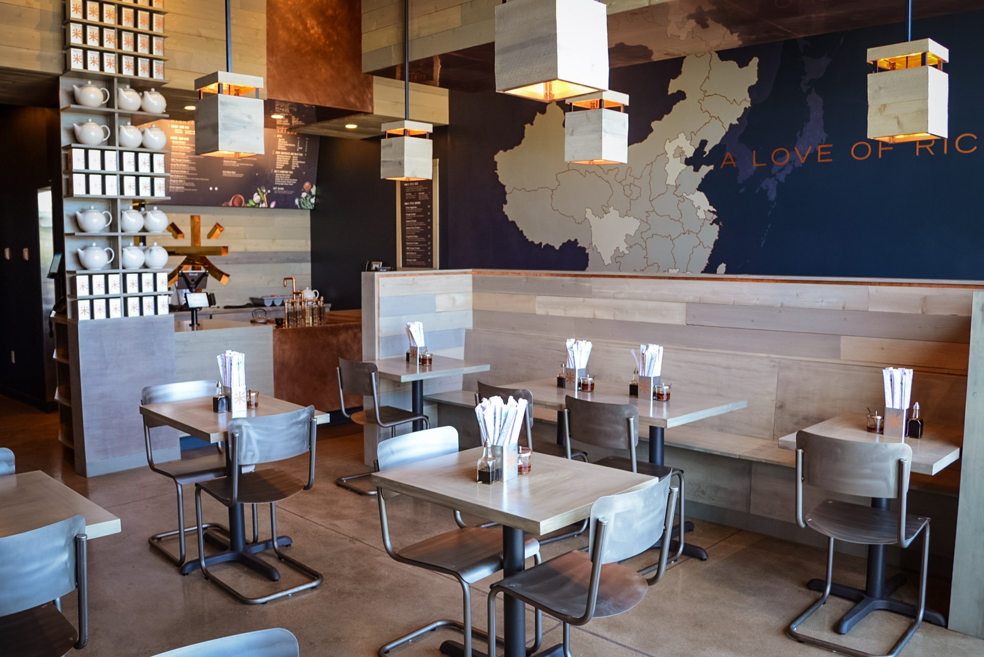 In 2015 me and my company Creative Services Bureau were contacted by Greg Walker of B-WOW to assist in the finishing of Riced, a fast casual restaurant in Utah. We built custom fixtures and did all the custom staining and woodwork.