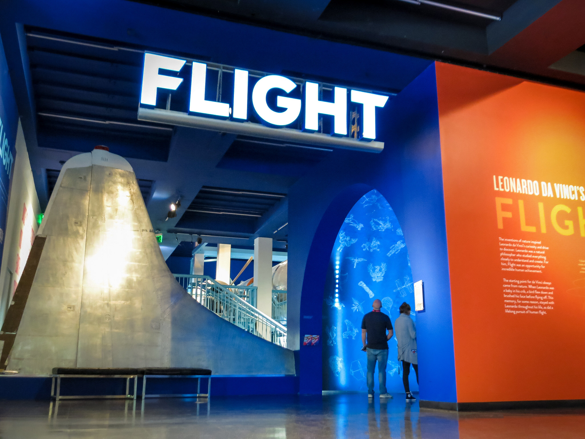 After the massive effort of the retrofitting, movement and installation, FLIGHT was ready to open. The sign and entry vestibule lead visitors into exhibit.