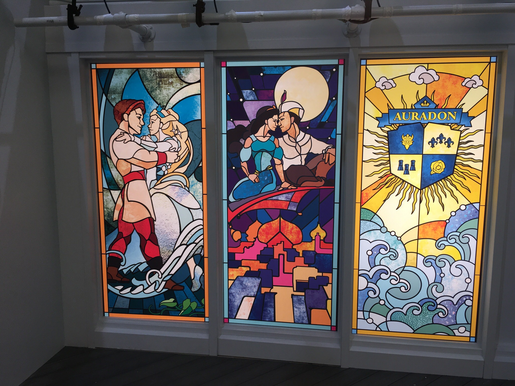 A detail of the stained glass windows on the yacht True Love, here celebrating Cinderella and Aladdin.